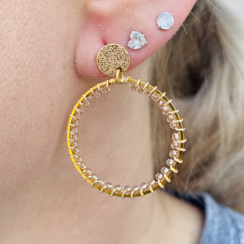 Champagne Beaded Hoop With Gold Plated Stud