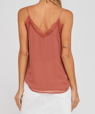 Lace Detail Cami with Side Slits