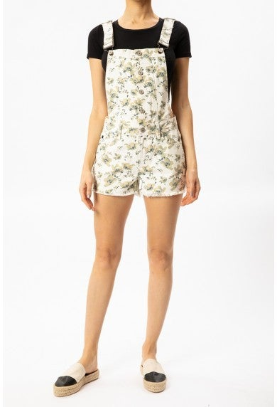 KanCan Rosie Floral Overall Shorts