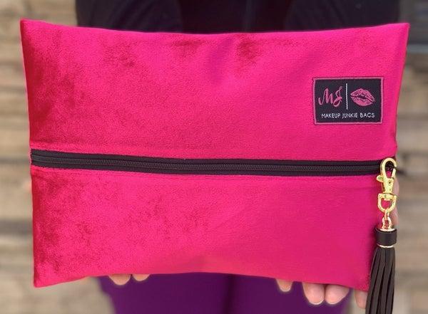 Fuchsia Velvet Makeup Junkie Bag