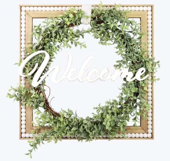 Welcome Beaded Wreath Wall Hanging