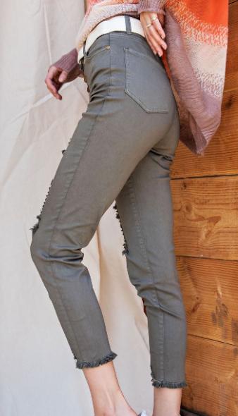 Dark Olive Distressed High Waist Jeans