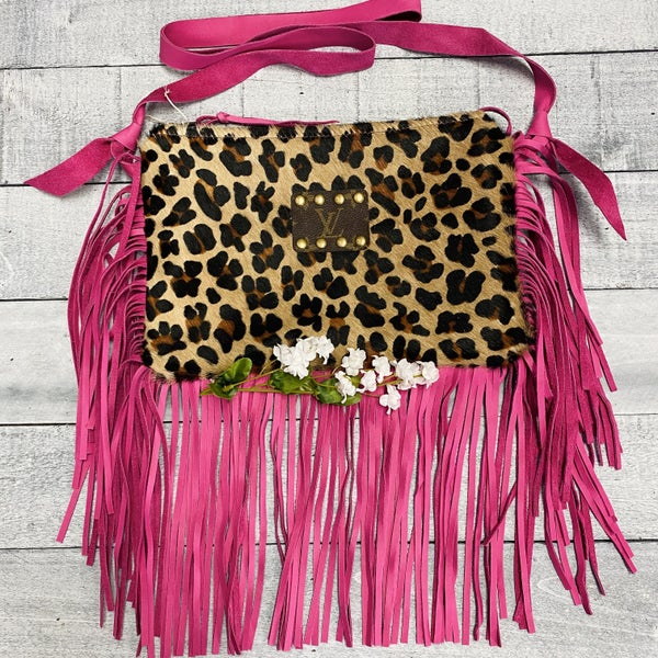 Up-Cycled Designer Cheetah Print With Pink Tassels Purse