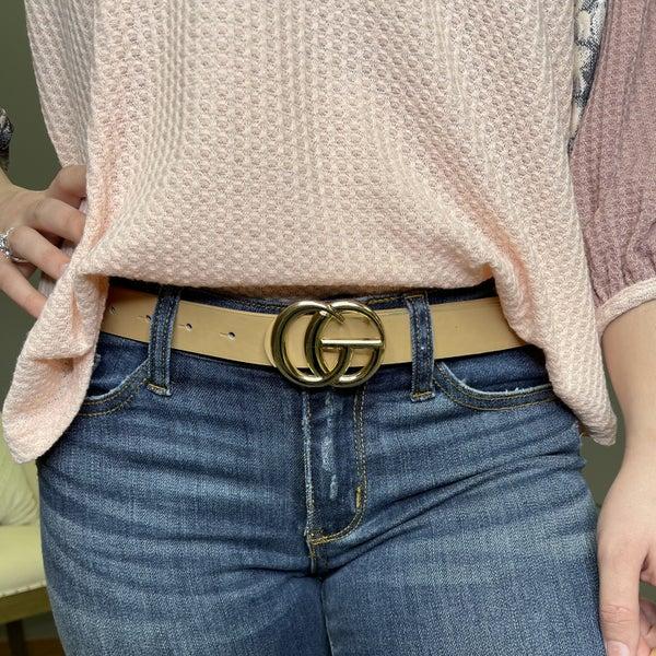Taupe Gold Medallion Belt