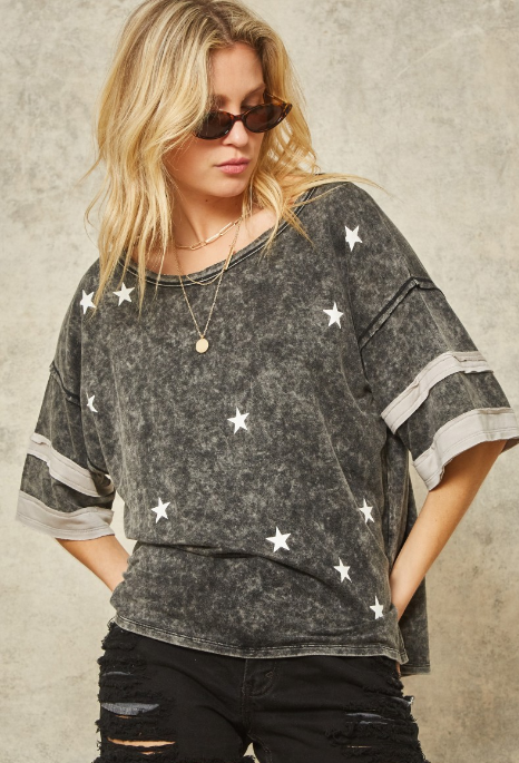Charcoal Mineral Washed Star Graphic Tee
