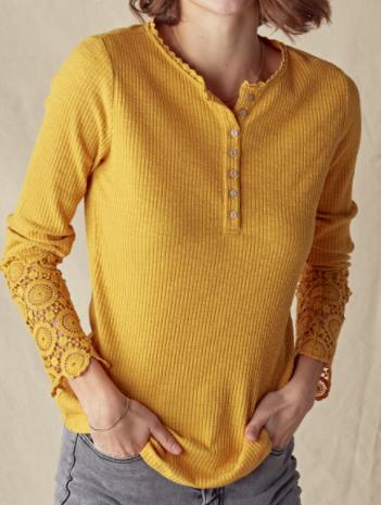 Crochet Sleeve Thermal Top  - 6 colors!