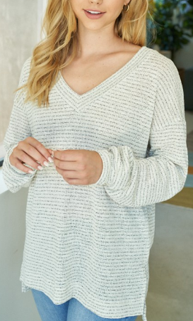 Natural Striped Knitted Top