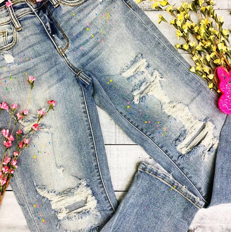 Confetti Explosion Judy Blue Boyfriend Jeans