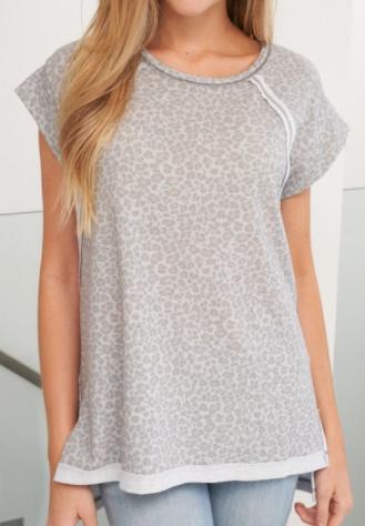 Grey Leopard Love Top