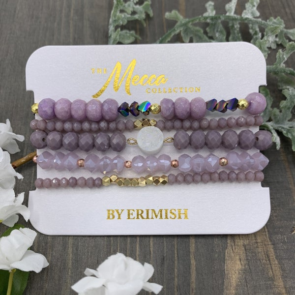 Purple Erimish Stretch Bracelets (Set of 5)