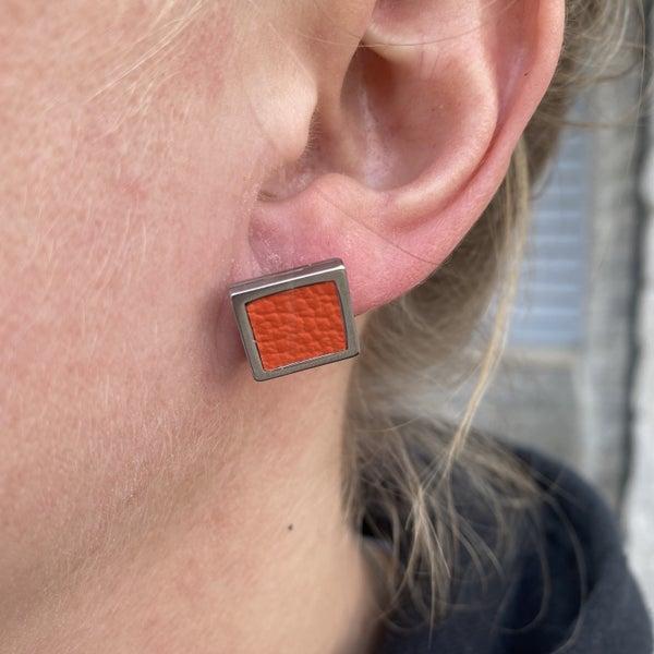 Orange Studded Earrings