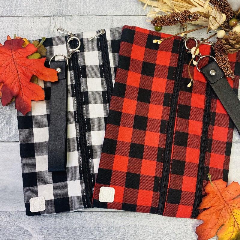 Buffalo Plaid Double Zipper Bag