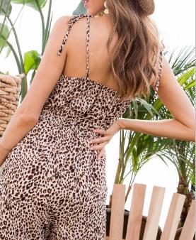 Overwrap Trim Leopard Print Jumpsuit