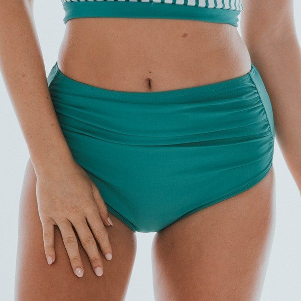 Green High Waisted Ruched Swim Bottoms