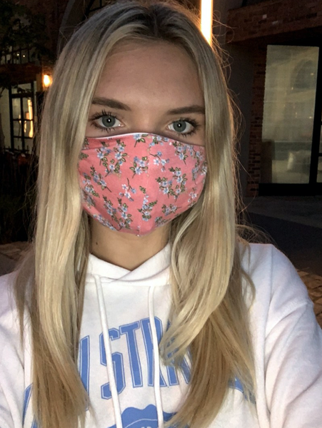 Pink Floral + Black Masks - 2 pack!
