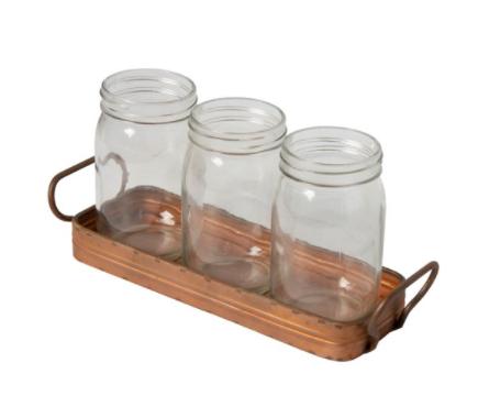 Rustic Metal Tray w/ Jars
