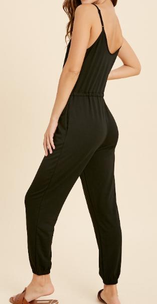 Black Sleeveless Button Detail Jumpsuit
