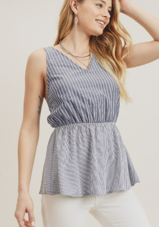 Mixed Stripe Tank With X Back Detail
