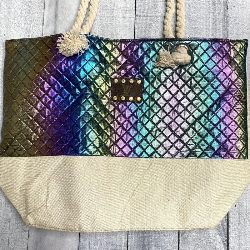 Up-Cycled Designer Mermaid Scale Tote - 2 colors!