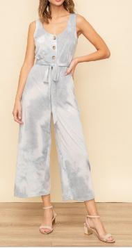 Blue and White Capri Pants Jumpsuit