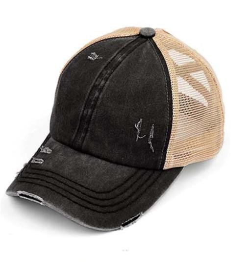 Distressed Criss Cross Pony Hat - 16 colors!