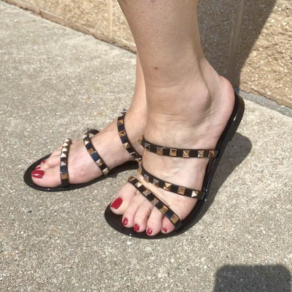 Black Sandal with Rose Gold Studs