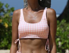 Pink Plaid Swim Top