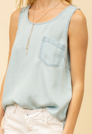 Soft Denim Sleeveless Top