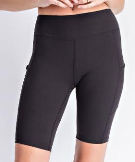 Women In Black Biker Shorts