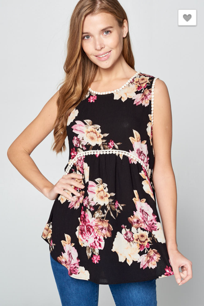 Floral Sleeveless Top - 2 colors!