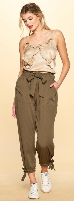 Big Bow Solid Woven Parachute Pants - 2 colors!
