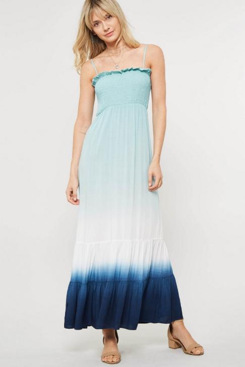 Sage & Navy Ombre Maxi Dress