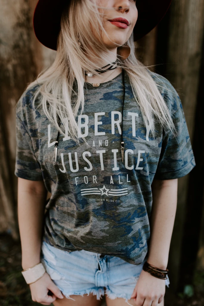 Liberty and Justice Camo Tee
