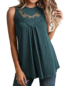Green Lace Embroidered Sleeveless Top