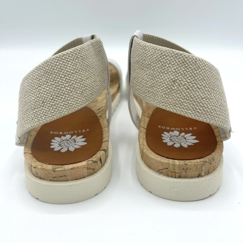 White Slide On Canvas & Leather Strap Sandals