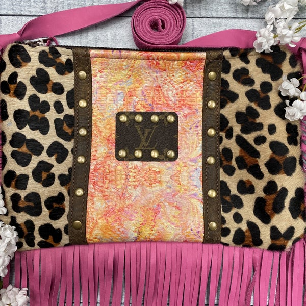 Up-Cycled Designer Starburst Alligator and Cheetah Purse with Pink Fringe