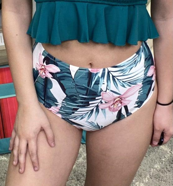 Tropical Breeze High-Waisted Swim Bottoms *Final Sale*