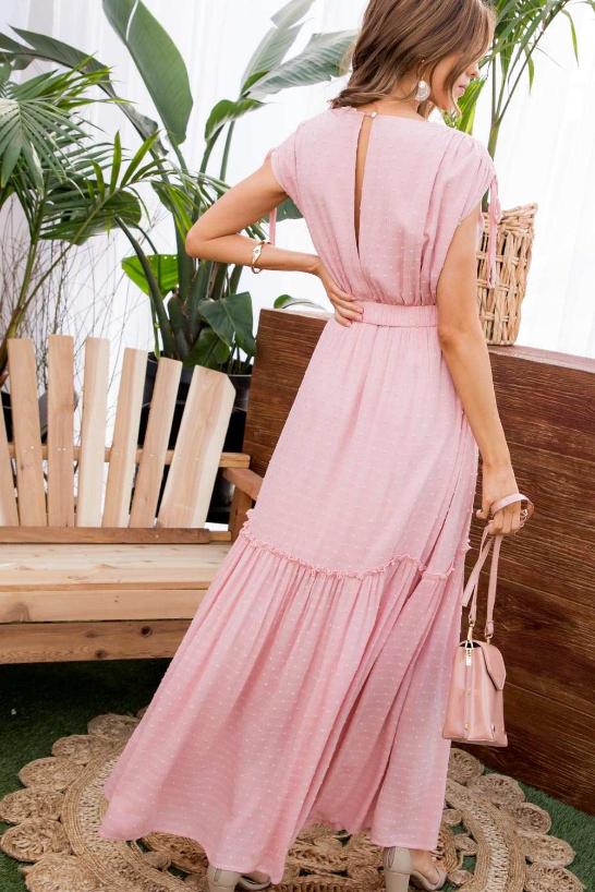 Rose Swiss Dot Belted Dress
