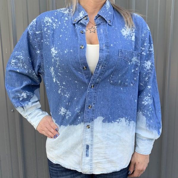Splattered Denim Southern Bliss Button Up