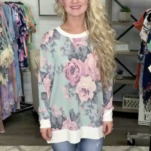 Turquoise Floral Boxy Cut Long Sleeve