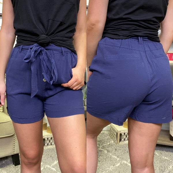 In the Blue Linen Pocket Shorts