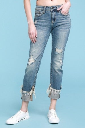 Cuffed, Cropped, & Destroyed Straight Leg Relaxed Judy Blue Jeans