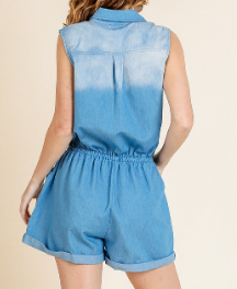Denim Button Front Sleeveless Romper
