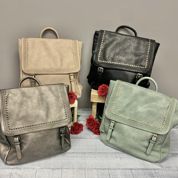 Vegan Leather Double Snap Rivet Satchel Backpack -6 colors!