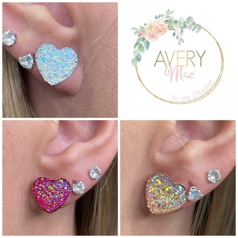 Sparkle Heart Posted Stud Earrings