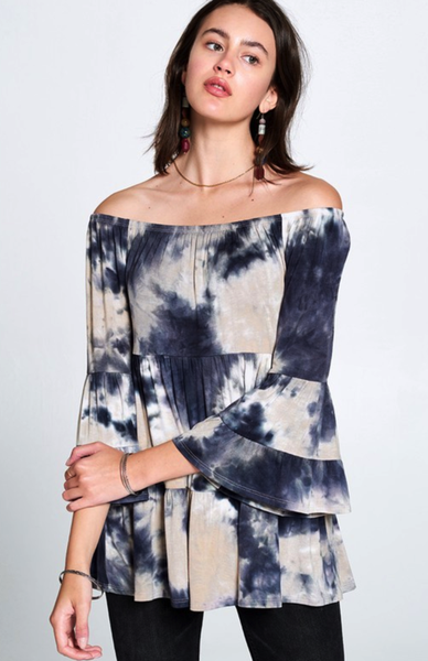 Taupe & Grey Tie Dyed Off Shoulder Top