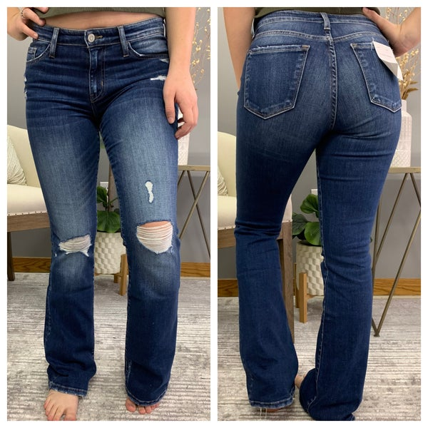 Mid Rise Distressed Bootcut Flying Monkey Jeans
