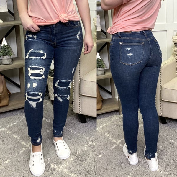 Mid Rise Patched Destroy Judy Blue Jeans
