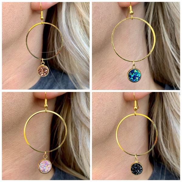 Faux Druzy Dangle Gold Hoop Earrings - 5 colors!