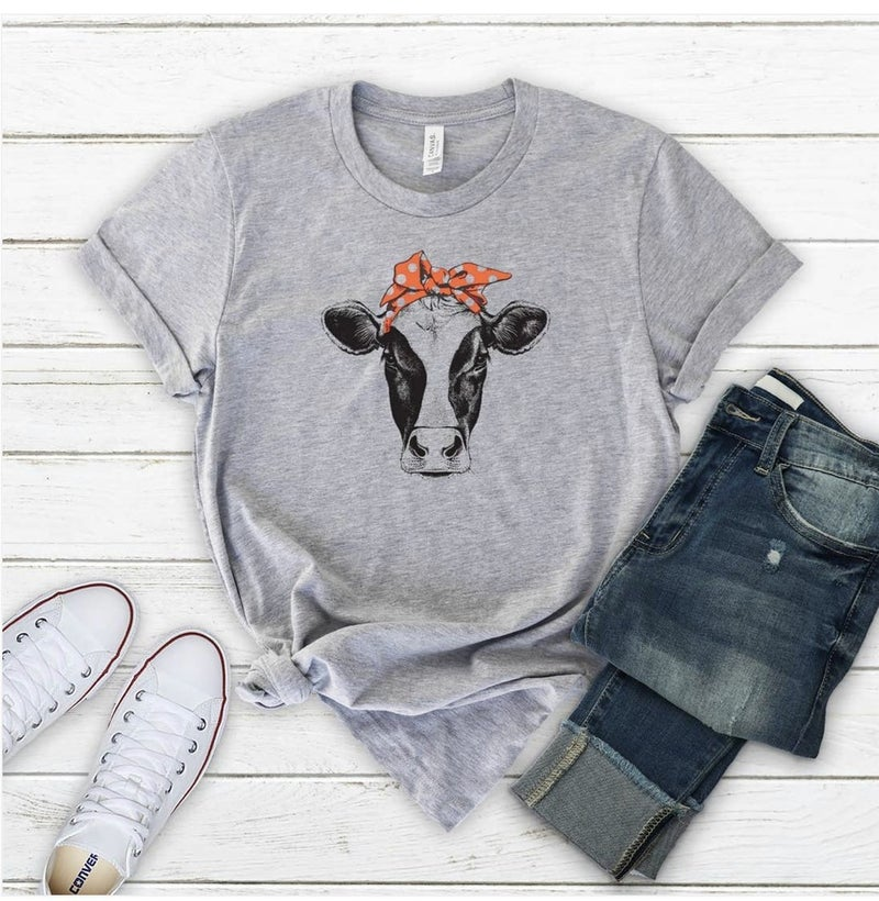 Grey Cow With Red Bandanna Graphic Tee